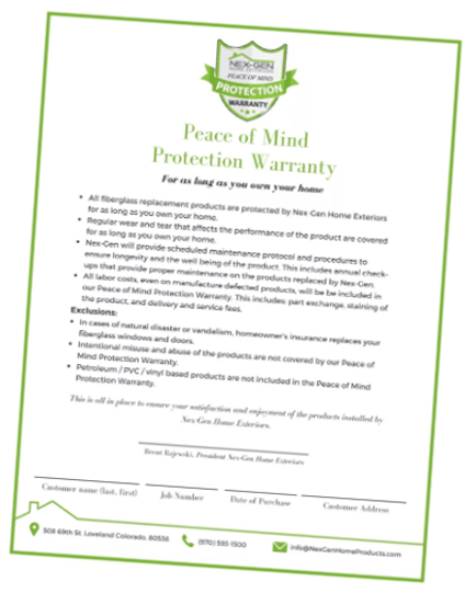 nex-gen windows and doors peace of mind warranty list